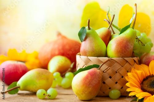 Autumn still life with seasonal fruits - 218661564
