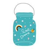 Cute print with magic glass jar and slogan. Vector hand drawn illustration. - 218677529