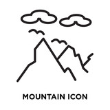 Mountain icon vector isolated on white background, Mountain sign , linear symbol and stroke design elements in outline style