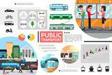 Flat Public Transport Elements Composition