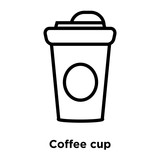 Coffee cup icon vector isolated on white background, Coffee cup sign , line or linear sign, element design in outline style