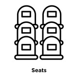 Seats icon vector isolated on white background, Seats sign , line or linear sign, element design in outline style