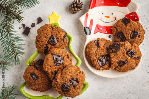 homemade christmas cookies with chocolate white background top view christmas background concept - Homemade Christmas Cookies