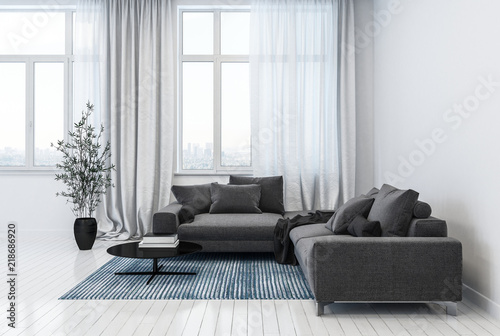 Modern living room containing sofas and plant pot © XtravaganT