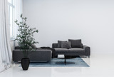 Black couch and plant pot in glossy white room