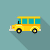 Mini kid school bus icon. Flat illustration of mini kid school bus vector icon for web design
