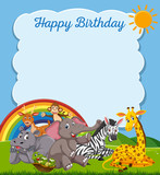 Animals happy birthday card template - 218711966