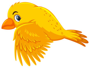 A yellow bird flying