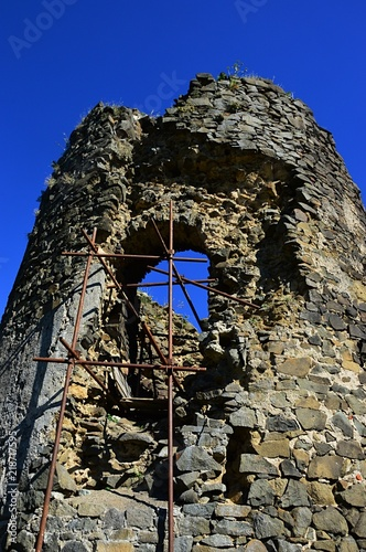 Southern round gothic defense tower of Saris castle with