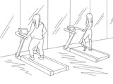 Gym interior graphic black white sketch illustration vector. Fat and thin women are workout on a treadmill - 218721317