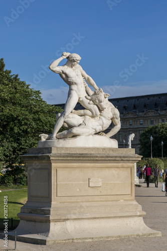 Sculptural composition Fight of Theseus with the Minotaur in the Tuileries Garden in Paris