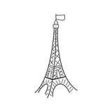 Paris eiffel tower logo on white background hand drawing