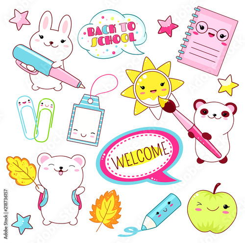 Vector set of education icons in kawaii style