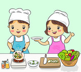 boy and girl cooking healthy food vector illustration