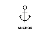 Anchor Minimal Flat Line Outline Stroke Icon.