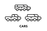 Cute Isometric Car Toy. Convertible, Crossover, Sedan. Minimal Flat Line Outline Stroke Icon.