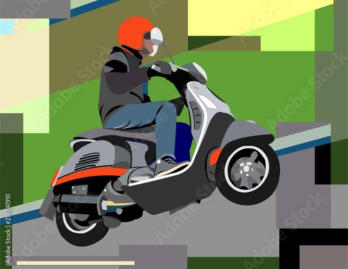 abstract colorful background with man on a scooter - 218741910