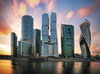 Moscow City business center at sunset