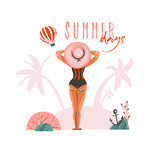Hand drawn vector abstract cartoon summer time graphic illustrations template card with girl on beach scene and modern typography Summer days isolated on white background - 218744510