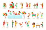 Children Birthday Party Set Of Scenes