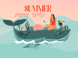 Hand drawn vector abstract cartoon summer time graphic illustrations template card with girl,whale on blue waves and modern typography Summer never ends isolated on pink sunset background - 218744753