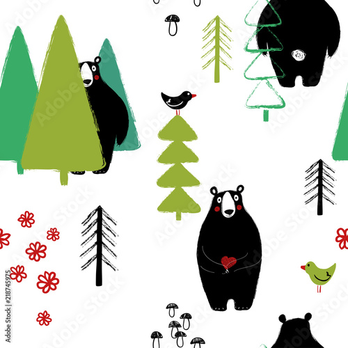 Bear in the forest seamless pattern