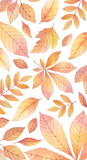 Watercolor autumn vector card template design of leaves and branches isolated on white background. - 218752128