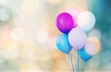Bunch of colorful balloons on white background - 218758574