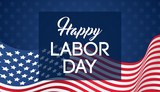Happy Labor day banner vector illustration, Beautiful USA flag waving on blue star pattern background. - 218758976