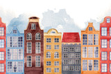 Watercolor house seamless pattern - 218760768