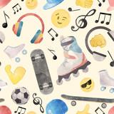 Watercolor teen pattern - 218761197