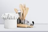 Set of kitchen utensils on background