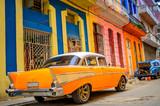 old American car on the street of the Cuban capital Havana