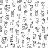 Seamless pattern with beverage icons - 218772780