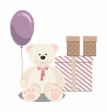 Teddy bear, balloon and gifts isolated on white background. Vector Illustration