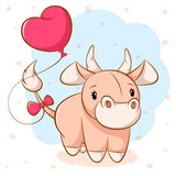 Cartoon cute cow with pink balloon. Vector eps 10.