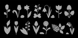 Flower icon set isolated on black. Cute various flowers including rose, Tulip, orchid, Espatifilo, Bells flowers, Bellis perennis, Bulb flowers.