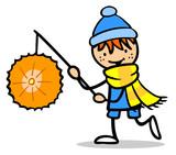 Cartoon Kind mit Laterne beim Laternelaufen - 218784131