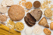 Set of healthy gluten free bread, pasta and grains