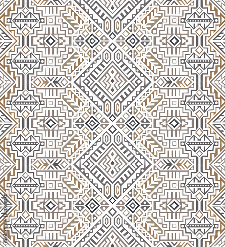 Simmetric seamless pattern in ethnic style. Tribal geometric ornament, perfect for textile design, site background, wrapping paper and other endless fill. Trendy boho tile. - 218791130