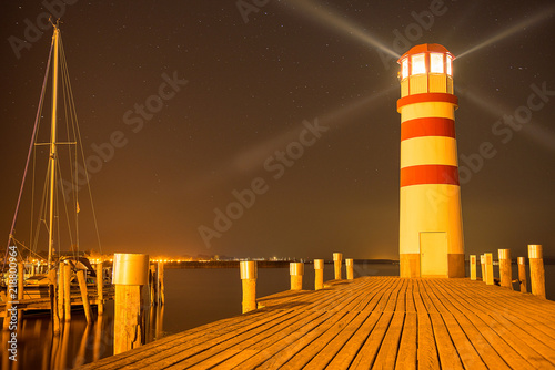 longtime exposure of a lighthouse with lightrays at 'Podersdorf' Austria