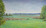 Painting rural landscape. Green village farm fields blue sky watercolor illustration nature artwork