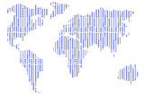 Series of figures in the form of continents on an abstract background