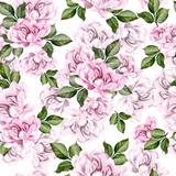 Beautiful watercolor pattern with peony flowers.   - 218804937