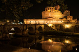Rome, Italy. The Mausoleum of Hadrian or usually known as Castel Sant'Angelo, a night shot from the opposite bank of the Tiber River.