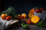 Composition of autumn vegetables on a wooden table. Country style - 218808560