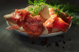 smoked salmon with bread - 218809558