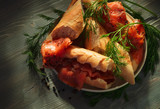 smoked salmon with bread - 218809571
