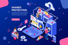 Online Administrator Web Hosting Concept Technician Repair Software Hardware Protection Share Infographic Store Safe Server Concept Characters And Text Images Flat Isometric  Illustration Sticker