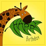 Greeting card with Giraffe. Happy birthday card. Vector illustration.